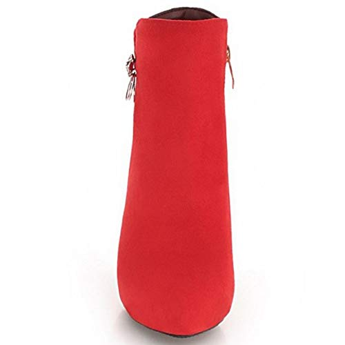 Tacon Jojonunu Aguja Botas Cremallera Rojo Tobillo Mujer De 5AxP1