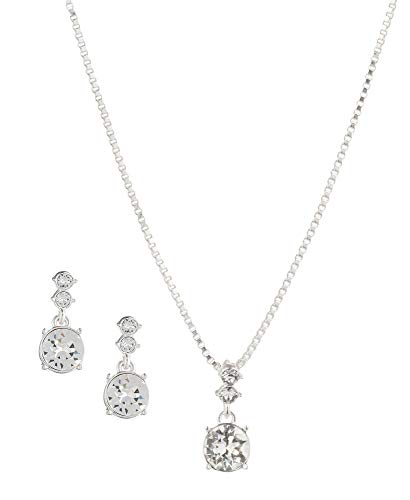 Nine West Silver-Tone and Crystal Necklace and Earrings ()