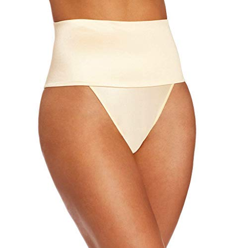 Women's Waist Girdle Tummy Slimmer Sexy Thong Panty Shapewear Trainer Panties Seamless Thigh Slimmers (Beige, L)