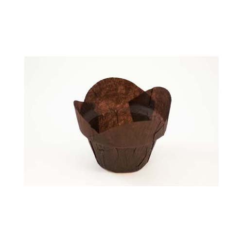 Novacart Brown Tulip Baking Cup--Round-Tip Step (1500, Bottom diameter 2 inch, height 2 to 2.88 inch)