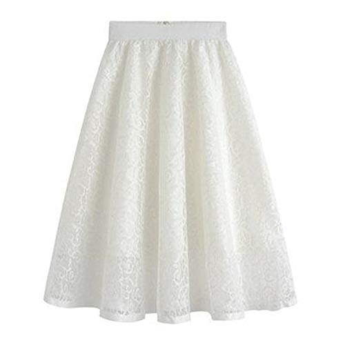 - Summer Hollow Out Lace Vintage Floral Embroideried Skirts Womens Tutu High Waist Ball Gown White