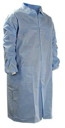 Disp Lab Coat, Knit Cuff, SMS, Blu, 2XL, PK25
