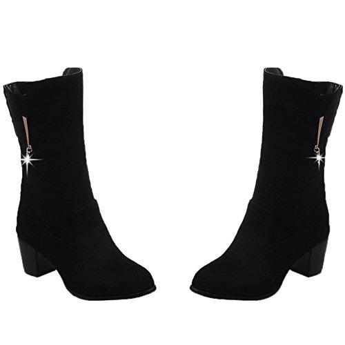 Calf On Black Kurze Slip Damen Ferse Kitten Stiefel Boots HooH Mid Strass ETxwqaB7