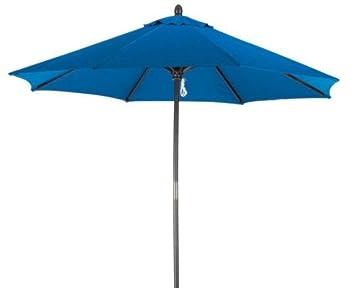 Lauren Company Pacific Blue Premium 9-Foot Round Wood Patio Umbrella