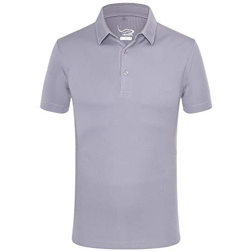 (EAGEGOF Regular Fit Men's Golf Polo Shirt Quick Dri Short Sleeve Fashion Classic Style(Light Gray M))