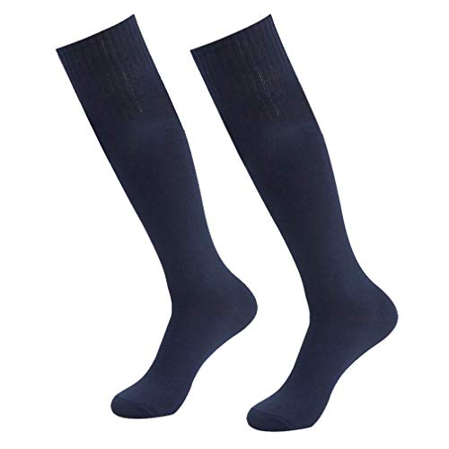 (Long Tube Socks, Getspor Unisex Knee High Solid Breathable Compression Football Referee Socks Navy Blue 2 Pairs)
