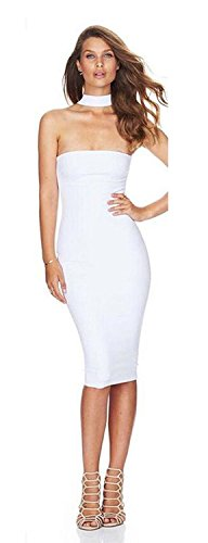 ALAIX Women's Classy Choker Neck Bodycon Bandage Sleeveless Cocktail Clubbing Dress White-M