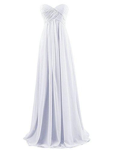 Partykleider Günstig Brautjungfernkleider JAEDEN Chiffon Lang Weiß Abendkleider Ballkleider Trägerlos wfRXxZxB