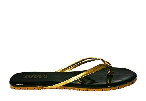 Rhea Duos Sandals Flip Flops Slip Resistant Two-Tone Color Comfort Double Strap Sandals (9, Black/Gold) ()