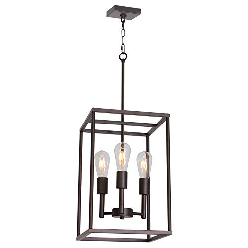 - VINLUZ 3 Light Farmhouse Chandelier Black Fixture