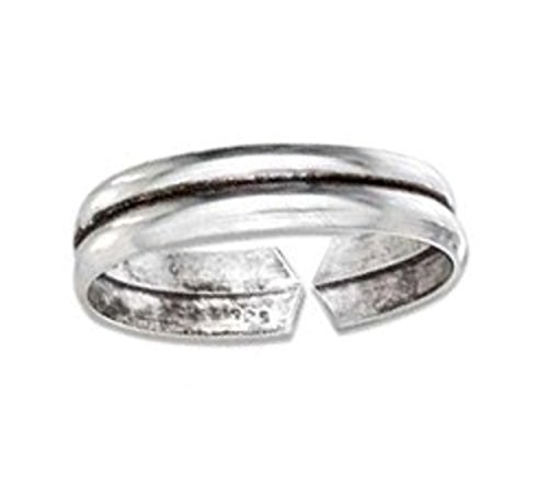 Sterling Silver Adjustable Plain Illusion Band Toe Ring