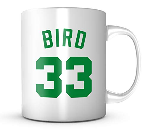 Larry Bird #33 Mug - Jersey Number Green/White Coffee Cup