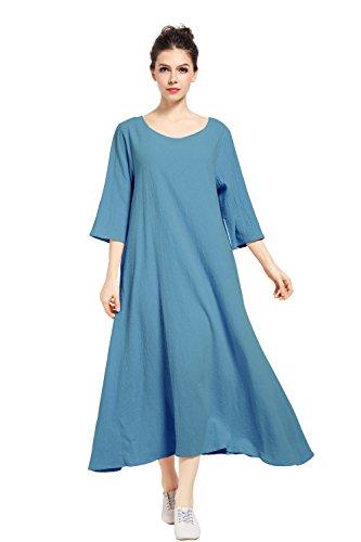 Summer Plus amp;Cotton Dress Quarter Three Dark F140A Size Linen Anysize Sleeve Blue Spring BCYwq1