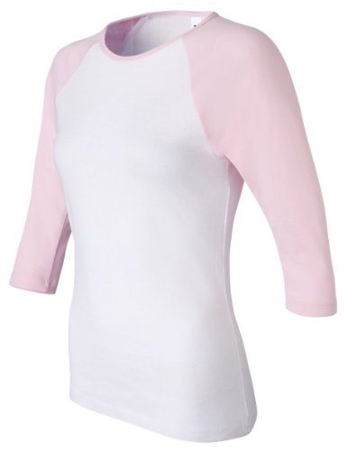 Bella+Canvas Ladies' Baby Rib 3/4-Sleeve Contrast Raglan Tee - White/ Pink - XL