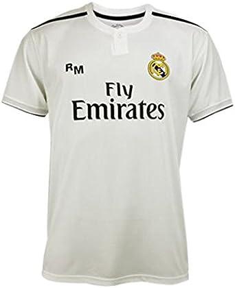 Camiseta 1ª Equipación Real Madrid 2018-2019 - Replica Oficial Licenciada - Dorsal 7 Ronaldo - Adulto Talla S - Medidas Pecho 51, 5 - Largo Total 71, 5 - Largo Manga 19, 5 cm.: Amazon.es: Ropa y accesorios
