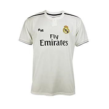 Blanco Real Madrid Camiseta Adulto Sin Dorsal Réplica Oficial de la Primera Equipación Temporada 2018-2019 Talla M