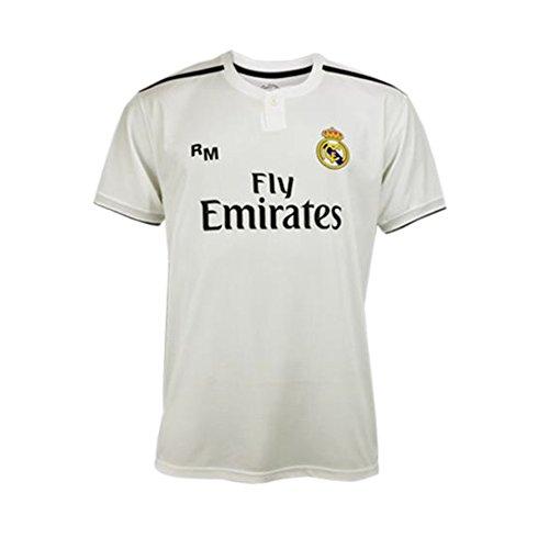 Maglia prima squadra Real Madrid 2018-2019 - Replica ufficiale con Licenza - Cresta 7 Ronaldo - Adulto taglia XXL - Dimensione Seno 63 - Lungo totale 77 - Lungo manica 23 cm. Roger' s