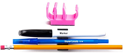 (10 pk) Pink Self Adhesive pencil pen and marker holder adhesive clip - Best mount organizer to stick on the wall, shower, bathroom mirror, drawer - Great for toothbrushes, razors, nail clippers - Makeup Tube Pro Red