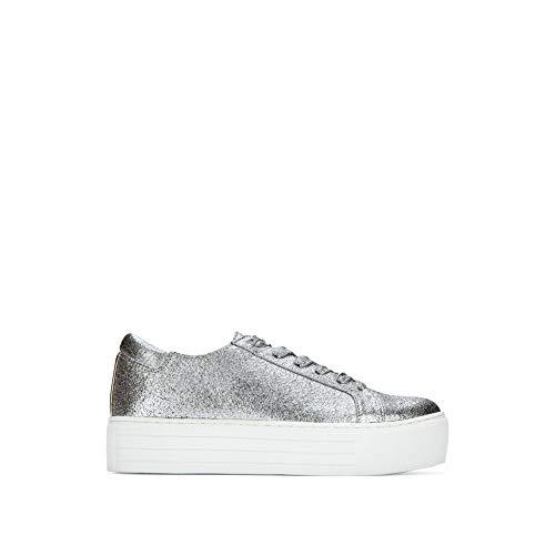 Kenneth Cole New York Women's Abbey Platform LACE UP Sneaker Metallic-Techni-Cole, Silver 8.5 Medium - Metallic Sandals Cole Kenneth