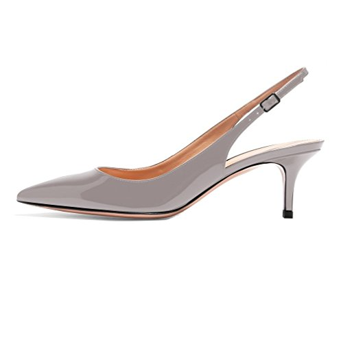 tacco Scarpe Scarpe dietro Donna Grigio 6 Stiletto Heel Mid con la col CM Gattino Tacco 5 EDEFS caviglia cinturino 7YS5wq4xZ4
