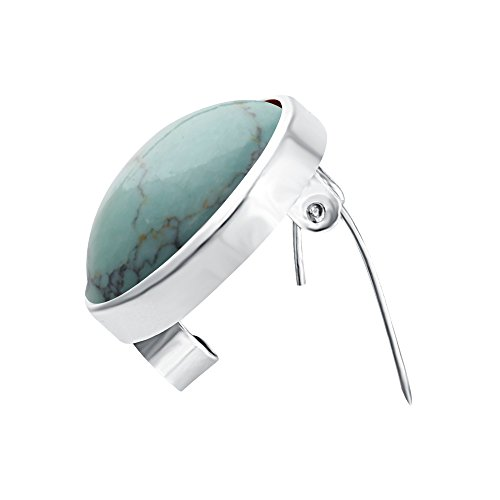 SENFAI Fashion Natural Stone Breastpin Multicolor Brooch Pin (Turquoise)