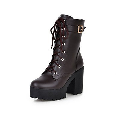 US9 EU40 Comfort Novelty RTRY Winter UK7 Calf Brown Yellow For Casual CN41 Heel Chunky Dress Round Shoes Boots Boots Boots Toe Leatherette Women'S Mid Fashion IwIq1cBFy