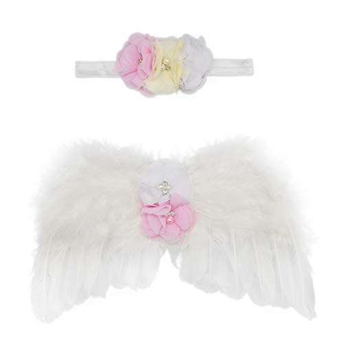 Wolken Newborn Baby Angel Feather Wing with Chiffon Flower Rhinestone Halo Headband Set Photo Props Outfit Costume (White)