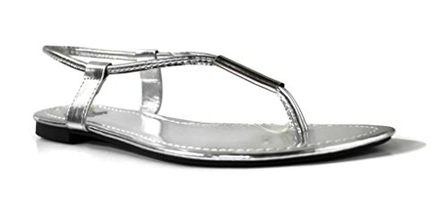 Kali Footwear Women's SingleWithMetallic Bar T-Strap Sandal 8