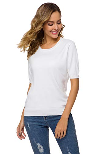 - DAIMIDY Women's Short Sleeve Knitted Cashmere T Shirt Blouse Top, White, Tag XXL = US 10