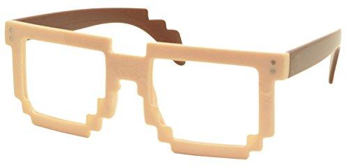 FancyG® Retro 8-Bit Pixel Geek Gamer Pixelated Glass Frame NO LENS - Cream White with Brown - Bit 8 Prescription Glasses