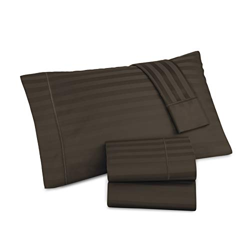 (AURAA Comfort 500 Thread Count 100% American Supima Long Staple Cotton 4 Pc Sheet Set, Sateen Weave,Damask Stripe, Fits Upto 16