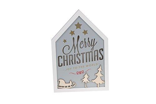 White Merry Christmas Joy to The World House Shaped Wooden LED Lit Christmas Hanging Decoration - 8.5