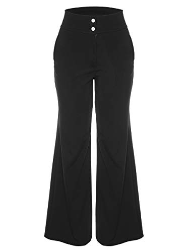 Molisry Women's Casual Solid Stretchy Straight Wide Leg Long Pants Trousers with Pocket Button Detail - Detail Wide Leg Trousers