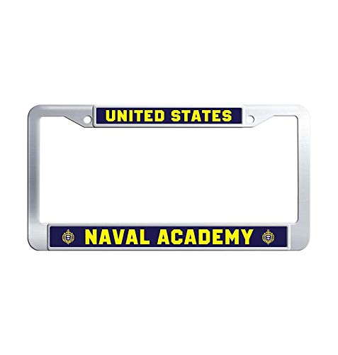 Academy Car Naval - Nuoousol United States Navy Command License Plate Frame, USNA, Annapolis - United States Naval Academy Cute Waterproof Stainless Steel Car tag Frame with Screw Cover