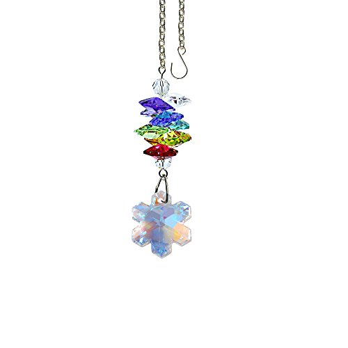 Crystal Suncatcher 3 inch Crystal Ornament Aurora Borealis Faceted Snowflake Prism Colorful Cascade Prisms Rainbow Maker Made with Genuine Swarovski Crystals