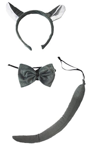 Petitebella Headband Bowtie Tail Unisex Children 3pc Costume (Grey Wolf) ()