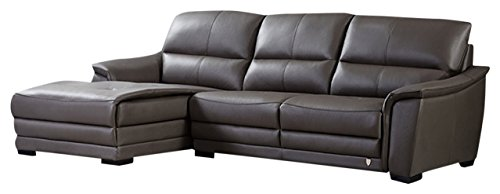 American Eagle Furniture Chandler Collection Contemporary Italian Top Grain Leather Living Room Sectional Sofa and Chaise on Left With Pillow Top Armrests and Tufting, Taupe