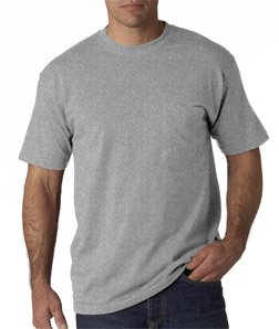 Adult Heavyweight Blend Tee Shirt with Pocket, Color: Oxford, Size: X-Large