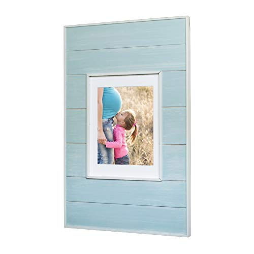 14x24 Seabreeze Blue Concealed Medicine Cabinet (Extra Large), a Recessed Mirrorless Medicine Cabinet with a Picture Frame - Light Traditional Medicine Cabinet Door