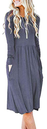 AUSELILY Women's Long Sleeve Pockets Empire Waist Pleated Loose Swing Casual Flare Dress (XL, Purple Grey)