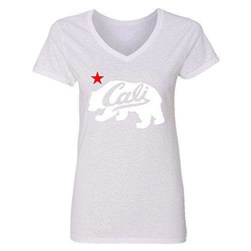 (CAMALEN White Cali Bear Design Popular California Gifts V-Neck T-Shirts for Women(White,X-Large))