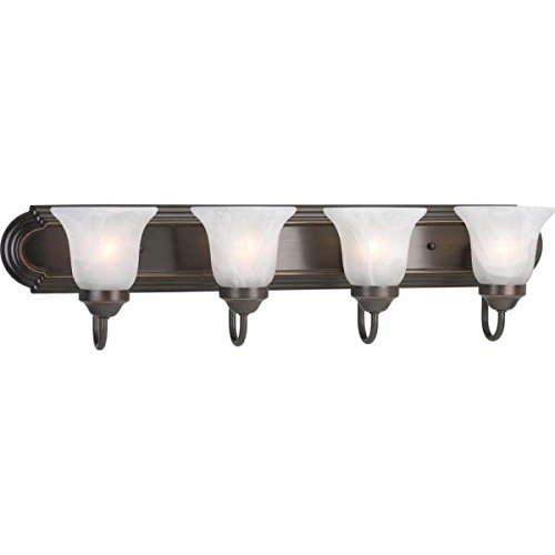 Progress Lighting Alabaster Glass 4-Light Antique Bronze Vanity Light P2104-20