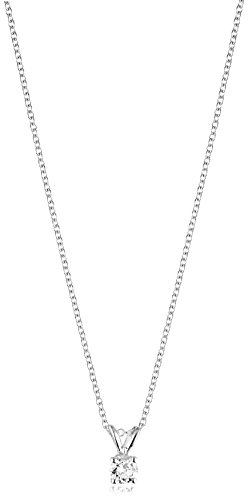 "14k White Gold 16"" Adjustable to 18"" 4-Prong Set Round-Cut Diamond Pendant (1/4 cttw, J-K Color, I2-I3 Clarity)"