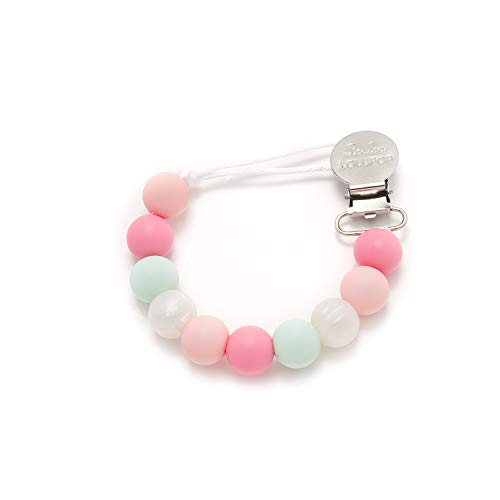 Loulou LOLLIPOP - Lolli - Best Silicone Pacifier Clip and Holder - Pink Mint