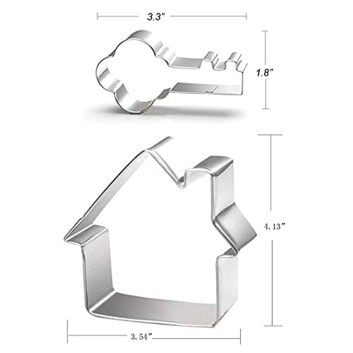 Key and House Fondant Cookie Cutter Set - 2 Pieces - Food Grade Stainless Steel