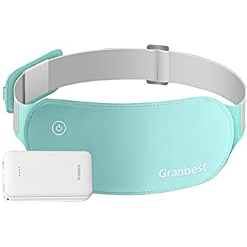 Granbest Portable Electric Heating Pad for Cramps, Lower Back Pain Relief USB Infrared Warming Waist Belt (Light Green-Battery)
