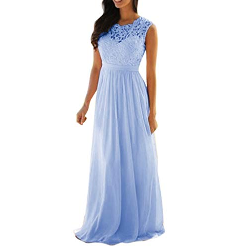 iLUGU Women Lace Applique Elegant Coral Bridesmaid Dresses Wedding Guest Dress Sleeveless Backless Dress ()