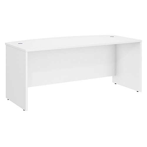 Bush Business Furniture Studio C 72W x 36D Bow Front Desk in White ()