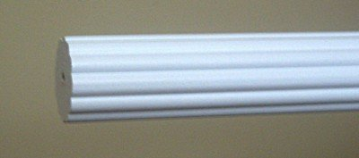 1-3/8 inch Wood Fluted Drapery Rod in White Finish - 6' (Fluted Wood Ring)