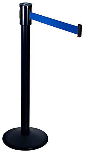 Visiontron 321-BA-BL Single Line Post w/ 15' Retracta-Belt, Black with Blue ()